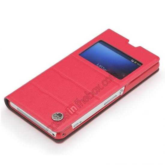 wholesale ROCK Excel Series Leather Flip Case for Sony Z1 Mini/Z1 Compact/M51w/D5503 - Red
