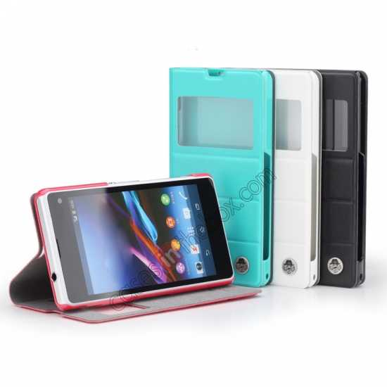 low price ROCK Excel Series Leather Flip Case for Sony Z1 Mini/Z1 Compact/M51w/D5503 - Red