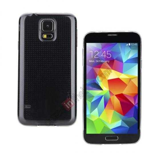 wholesale Rock PC 0.6mm Ultra Thin Back Case Cover for Samsung Galaxy S5 - Transparent Black