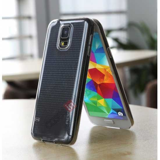 on sale Rock PC 0.6mm Ultra Thin Back Case Cover for Samsung Galaxy S5 - Transparent Black