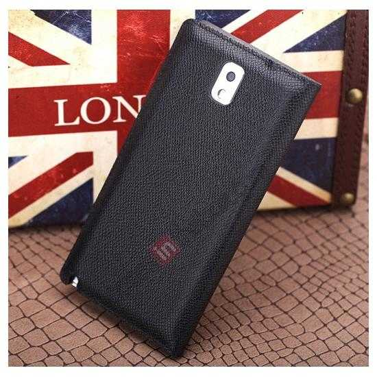 low price Rock Reach Series 100% Real Genuine Cowhide Leather Case for Samsung Galaxy Note 3 - Black