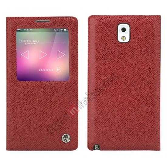 wholesale Rock Reach Series 100% Real Genuine Cowhide Leather Case for Samsung Galaxy Note 3 - Red