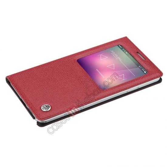 discount Rock Reach Series 100% Real Genuine Cowhide Leather Case for Samsung Galaxy Note 3 - Red