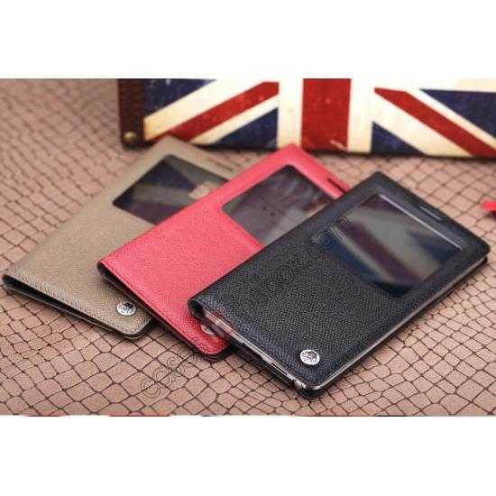 china wholesale Rock Reach Series 100% Real Genuine Cowhide Leather Case for Samsung Galaxy Note 3 - Red