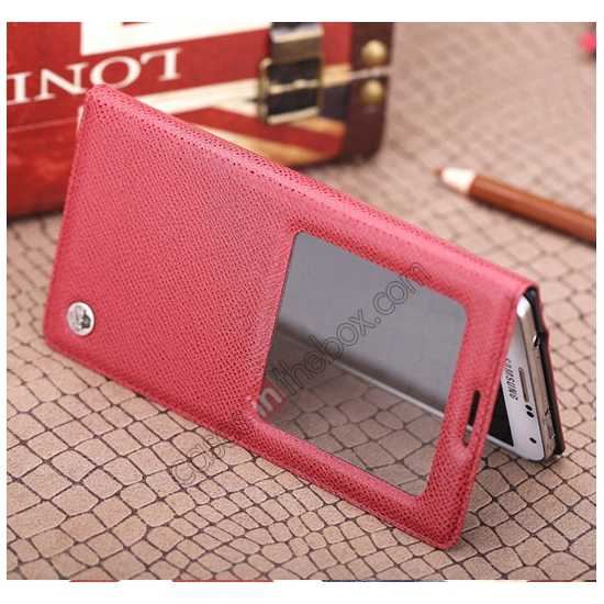 low price Rock Reach Series 100% Real Genuine Cowhide Leather Case for Samsung Galaxy Note 3 - Red