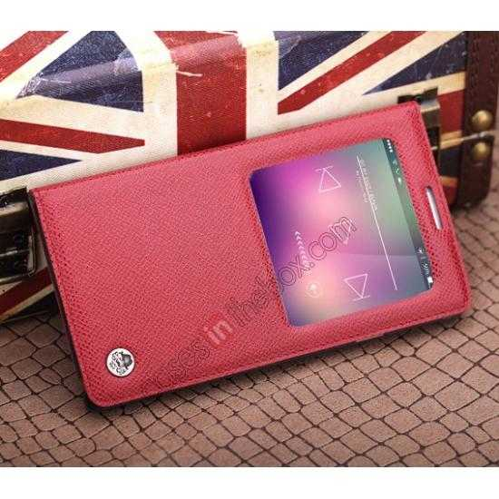 high quanlity Rock Reach Series 100% Real Genuine Cowhide Leather Case for Samsung Galaxy Note 3 - Red