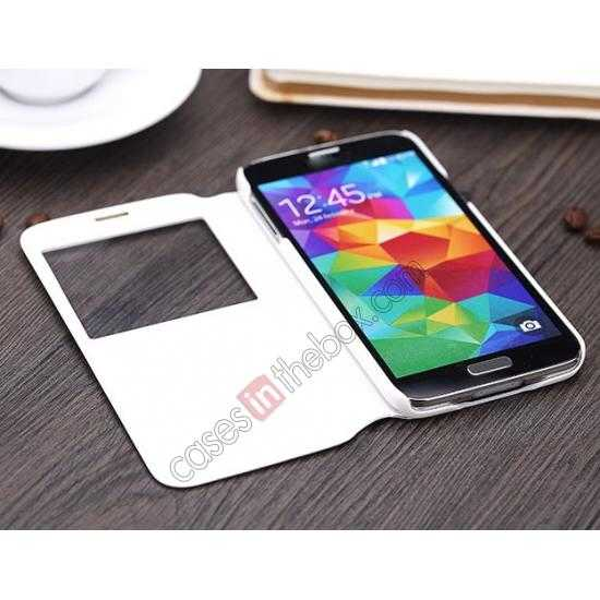 best price Rock View Window Smart Leather Case for Samsung Galaxy S5 With Intelligent Sleep Function - Black