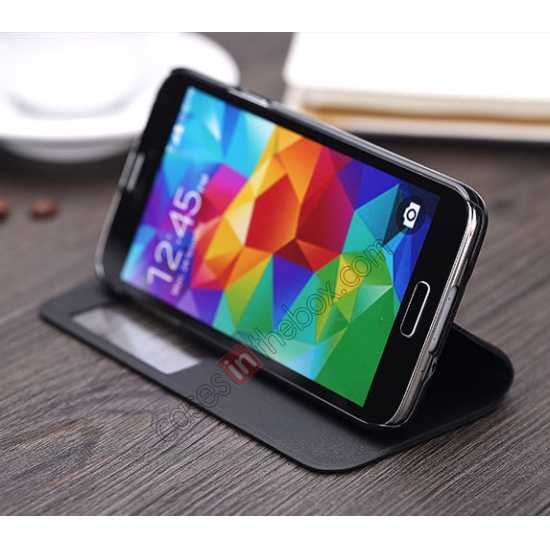on sale Rock View Window Smart Leather Case for Samsung Galaxy S5 With Intelligent Sleep Function - Black