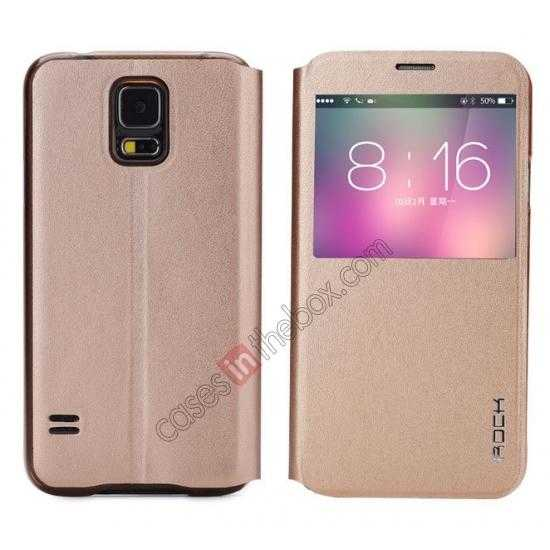 wholesale Rock View Window Smart Leather Case for Samsung Galaxy S5 With Intelligent Sleep Function - Golden