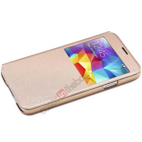 discount Rock View Window Smart Leather Case for Samsung Galaxy S5 With Intelligent Sleep Function - Golden
