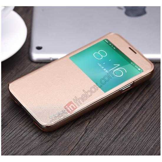 top quality Rock View Window Smart Leather Case for Samsung Galaxy S5 With Intelligent Sleep Function - Golden