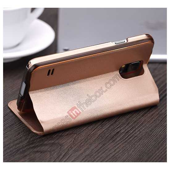 best price Rock View Window Smart Leather Case for Samsung Galaxy S5 With Intelligent Sleep Function - Golden
