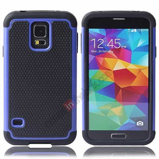 wholesale Rugged Impact Hybrid Hard Back Case Cover For Samsung Galaxy S5 - Blue