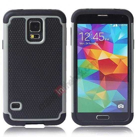 wholesale Rugged Impact Hybrid Hard Back Case Cover For Samsung Galaxy S5 - Grey