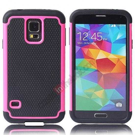 wholesale Rugged Impact Hybrid Hard Back Case Cover For Samsung Galaxy S5 - Pink