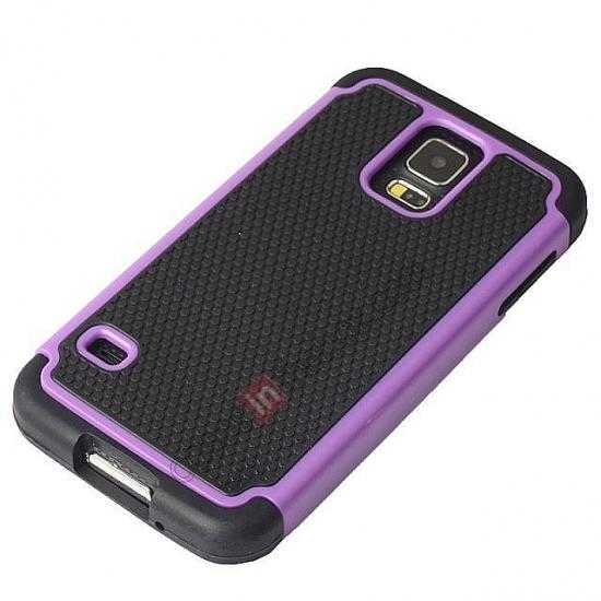 discount Rugged Impact Hybrid Hard Back Case Cover For Samsung Galaxy S5 - Purple
