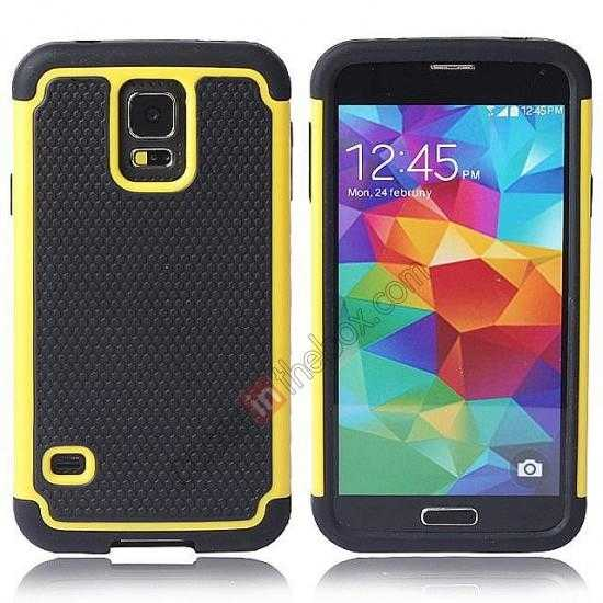 wholesale Rugged Impact Hybrid Hard Back Case Cover For Samsung Galaxy S5 - Yellow
