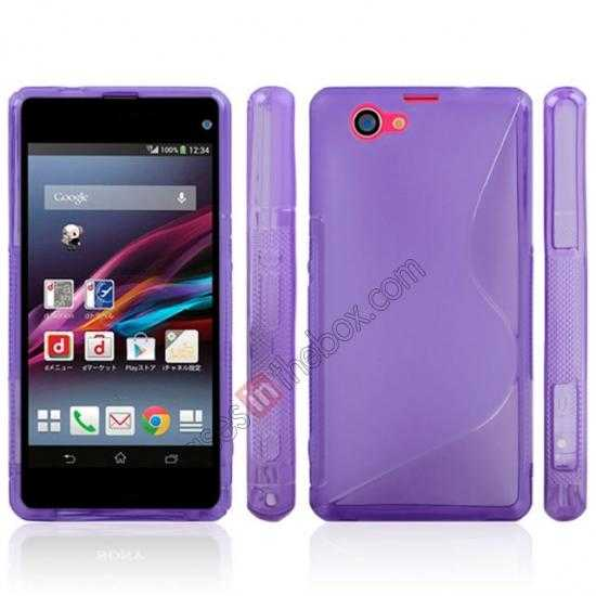 discount S-Line Wave Gel TPU Case Cover For Sony Xperia Z1 Compact(M51W) - Blue