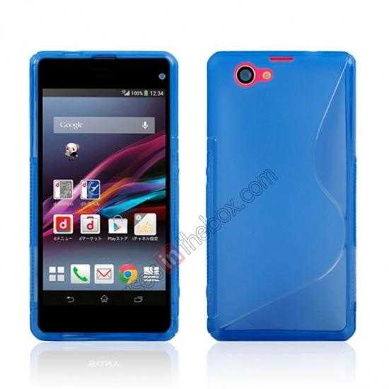 wholesale S-Line Wave Gel TPU Case Cover For Sony Xperia Z1 Compact(M51W) - Blue