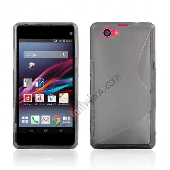wholesale S-Line Wave Gel TPU Case Cover For Sony Xperia Z1 Compact(M51W) - Grey
