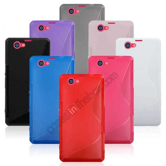 top quality S-Line Wave Gel TPU Case Cover For Sony Xperia Z1 Compact(M51W) - Red