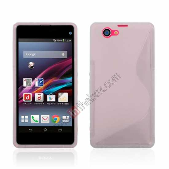 wholesale S-Line Wave Gel TPU Case Cover For Sony Xperia Z1 Compact(M51W) - Transparent