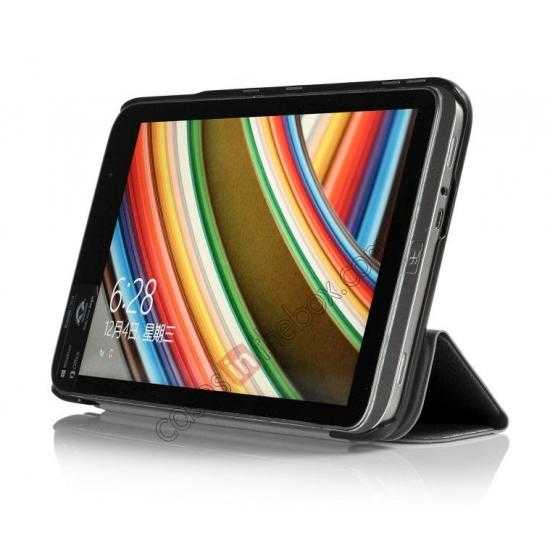 discount Silk Pattern 3-Folding Leather Case Cover For 8 Acer Iconia W4-820 - Black