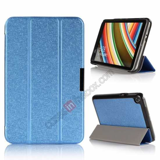 wholesale Silk Pattern 3-Folding Leather Case Cover For 8 Acer Iconia W4-820 - Blue