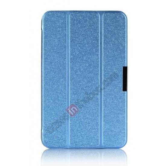 best price Silk Pattern 3-Folding Leather Case Cover For 8 Acer Iconia W4-820 - Blue