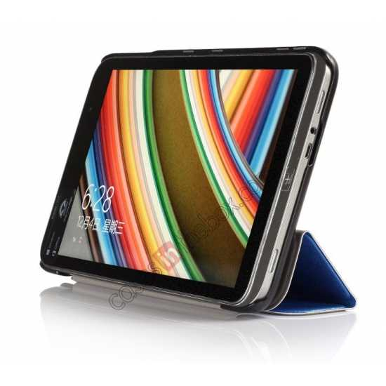 discount Silk Pattern 3-Folding Leather Case Cover For 8 Acer Iconia W4-820 - Blue