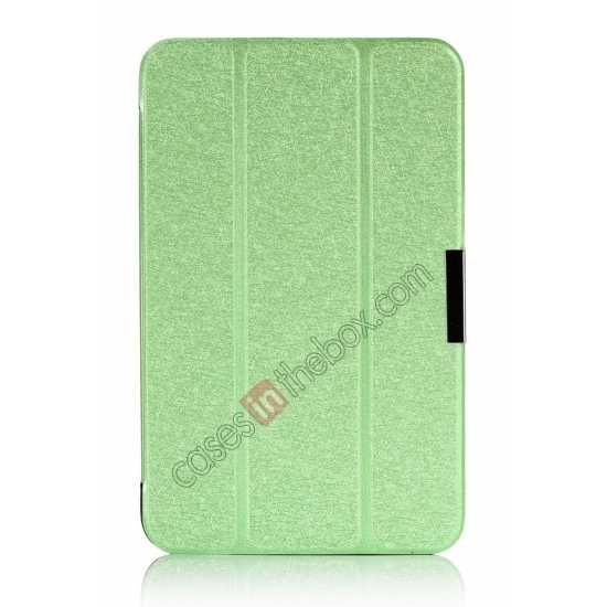 best price Silk Pattern 3-Folding Leather Case Cover For 8 Acer Iconia W4-820 - Green