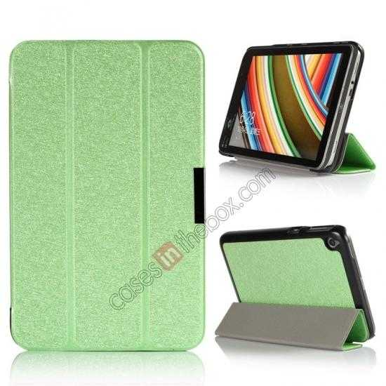 wholesale Silk Pattern 3-Folding Leather Case Cover For 8 Acer Iconia W4-820 - Green