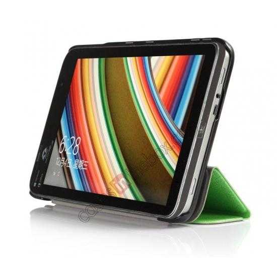 discount Silk Pattern 3-Folding Leather Case Cover For 8 Acer Iconia W4-820 - Green