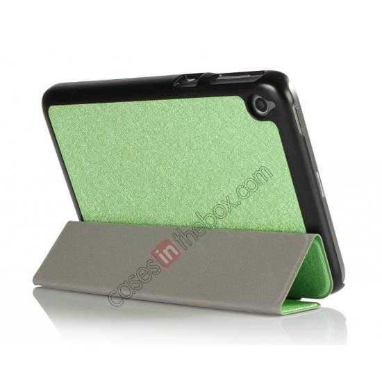 cheap Silk Pattern 3-Folding Leather Case Cover For 8 Acer Iconia W4-820 - Green