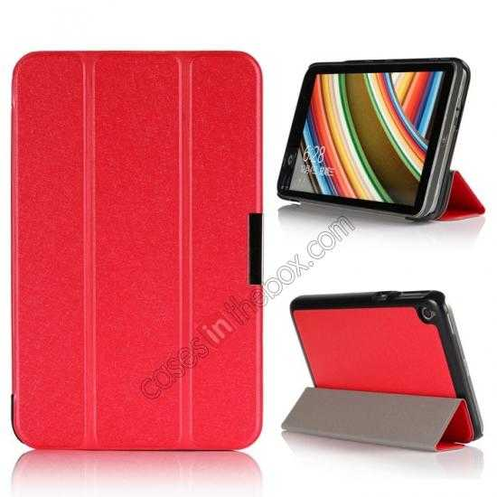 wholesale Silk Pattern 3-Folding Leather Case Cover For 8 Acer Iconia W4-820 - Red