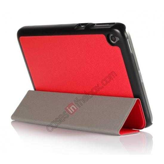 cheap Silk Pattern 3-Folding Leather Case Cover For 8 Acer Iconia W4-820 - Red