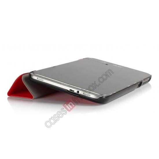 top quality Silk Pattern 3-Folding Leather Case Cover For 8 Acer Iconia W4-820 - Red