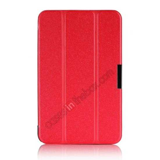 best price Silk Pattern 3-Folding Leather Case Cover For 8 Acer Iconia W4-820 - Red