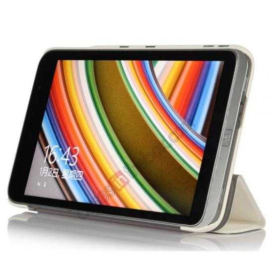 discount Silk Pattern 3-Folding Leather Case Cover For 8 Acer Iconia W4-820 - White