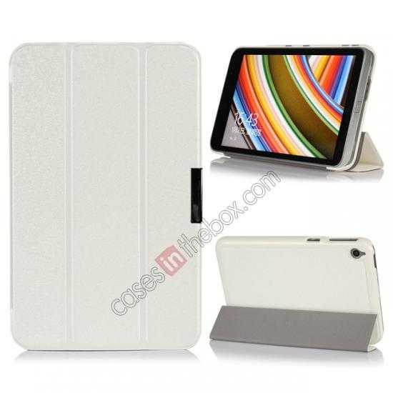 wholesale Silk Pattern 3-Folding Leather Case Cover For 8 Acer Iconia W4-820 - White
