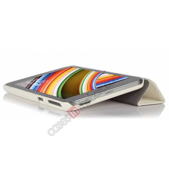 cheap Silk Pattern 3-Folding Leather Case Cover For 8 Acer Iconia W4-820 - White