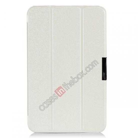 best price Silk Pattern 3-Folding Leather Case Cover For 8 Acer Iconia W4-820 - White