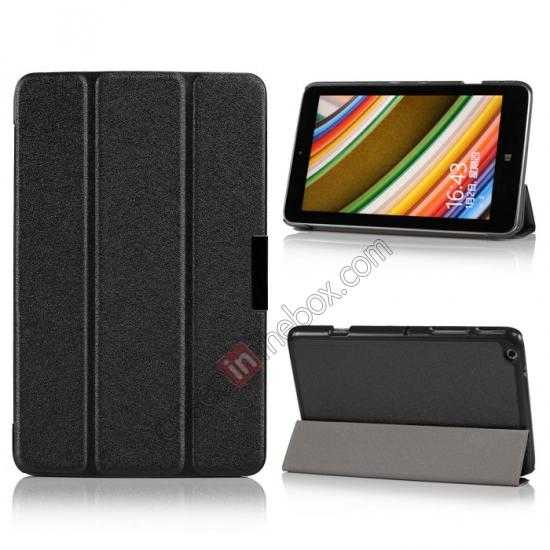 wholesale Silk Pattern 3-Folding Leather Case Cover For Lenovo Ideatab Miix2 8 - Black
