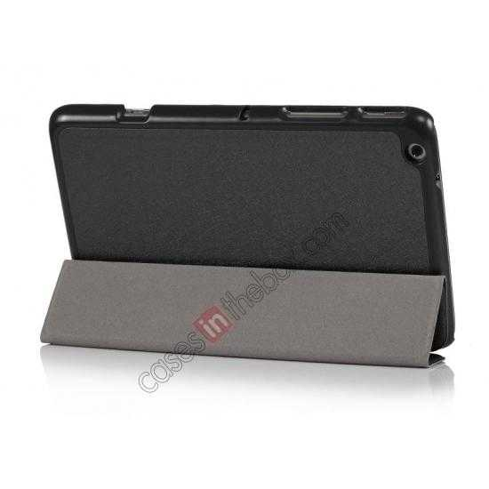 top quality Silk Pattern 3-Folding Leather Case Cover For Lenovo Ideatab Miix2 8 - Black