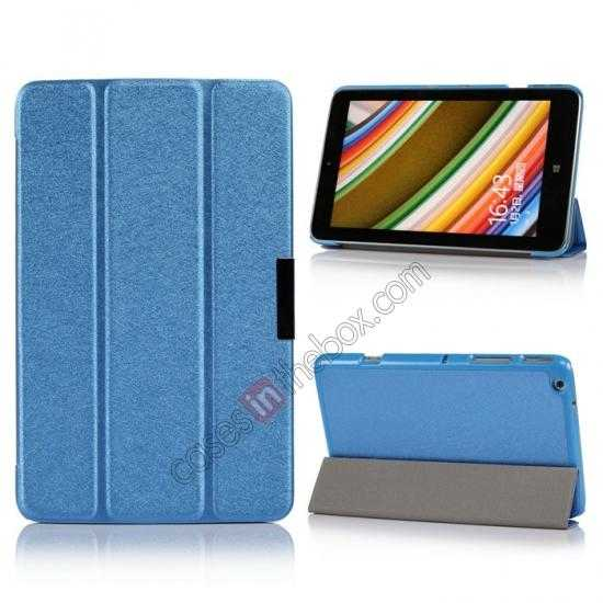 wholesale Silk Pattern 3-Folding Leather Case Cover For Lenovo Ideatab Miix2 8 - Blue