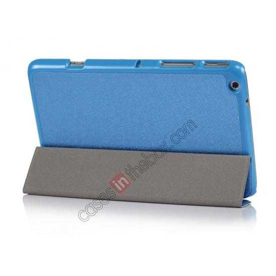 top quality Silk Pattern 3-Folding Leather Case Cover For Lenovo Ideatab Miix2 8 - Blue