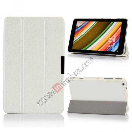 wholesale Silk Pattern 3-Folding Leather Case Cover For Lenovo Ideatab Miix2 8 - White