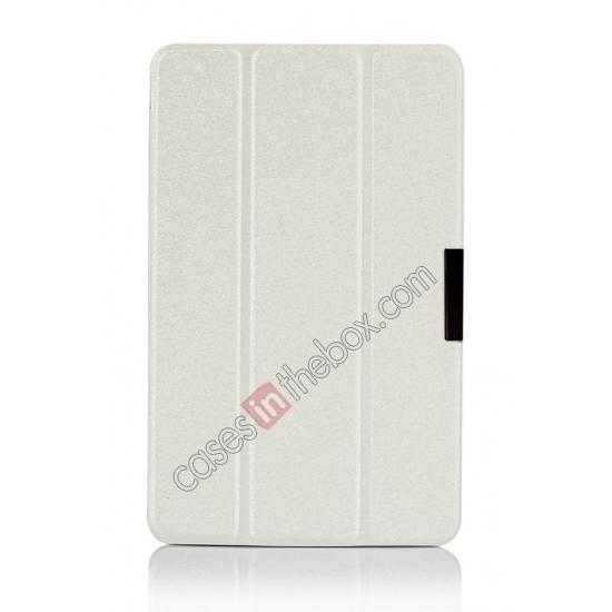 best price Silk Pattern 3-Folding Leather Case Cover For Lenovo Ideatab Miix2 8 - White