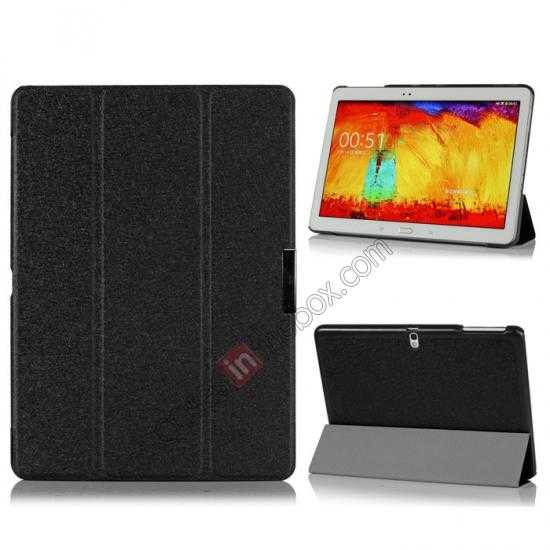 wholesale Silk Pattern 3-Folding Leather Case Cover For Samsung Galaxy Tab Pro 10.1 T520 - Black