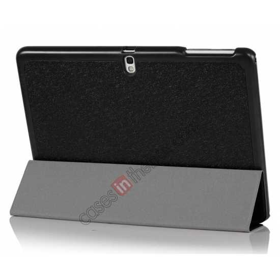 cheap Silk Pattern 3-Folding Leather Case Cover For Samsung Galaxy Tab Pro 10.1 T520 - Black